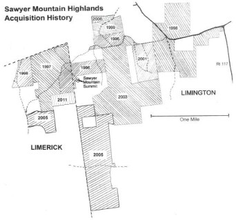 Map of Sawyer Mountain Highlands Acquisition History