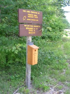 Map box at the start of the trail along discontinued Sawyer Mountain Road.