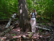 Sarah Winslow with old-growth hemlock